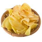 I chip del Durian fritti fanno un spuntino la frutta nel canestro, frui croccante del Durian immagini stock libere da diritti
