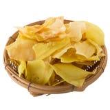 I chip del Durian fritti fanno un spuntino la frutta nel canestro, frui croccante del Durian fotografia stock
