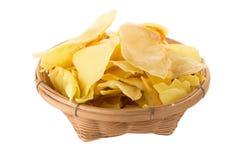 I chip del Durian fritti fanno un spuntino la frutta nel canestro, frui croccante del Durian fotografie stock