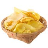 I chip del Durian fritti fanno un spuntino la frutta nel canestro, frui croccante del Durian fotografie stock libere da diritti