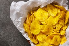 I chip della banana del plantano si chiudono sulla vista Immagine Stock Libera da Diritti