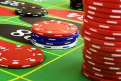 I chip delle roulette sono giù Fotografia Stock Libera da Diritti