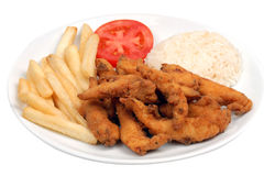 I chip e chiken le fritture Immagini Stock Libere da Diritti