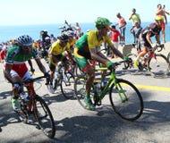 I ciclisti guidano durante la concorrenza olimpica della strada di riciclaggio di Rio 2016 di Rio 2016 giochi olimpici in Rio de  Fotografie Stock Libere da Diritti