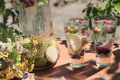 I cocktail dell'estate con frutta stagionale in caraffa di vetro trasparente sta su una tavola in un giardino accanto ad un beche Fotografia Stock Libera da Diritti