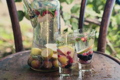 I cocktail dell'estate con frutta stagionale in caraffa di vetro trasparente sta su una tavola in un giardino accanto ad un beche Fotografie Stock Libere da Diritti