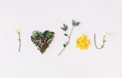 I coeur vous Concept d'amour Configuration plate Photos libres de droits