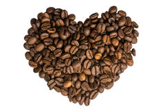 I coffee heart. I love coffee - heart on white isolated background Royalty Free Stock Photography