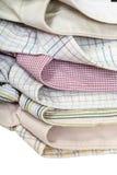 I collari delle camice si chiudono su isolato su bianco Immagine Stock Libera da Diritti