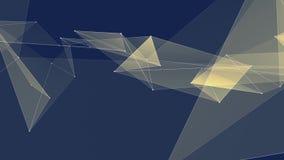 I collegamenti GIALLI astratti della rete del poligon si appannano il video variopinto di nuovo di qualità del fondo di animazion stock footage