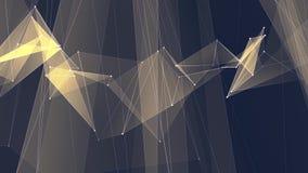 I collegamenti GIALLI astratti della rete del poligon si appannano il video variopinto di nuovo di qualità del fondo di animazion archivi video