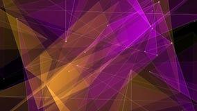 I collegamenti PORPORA ARANCIO astratti della rete del poligon si appannano il moto dinamico della tecnologia di nuova qualità de royalty illustrazione gratis