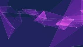 I collegamenti PORPORA astratti della rete del poligon si appannano il video variopinto di nuovo di qualità del fondo di animazio archivi video