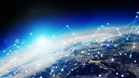 I collegamenti sistema e gli scambi di dati su pianeta Terra 3D rendono Immagine Stock Libera da Diritti
