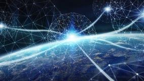I collegamenti sistema e gli scambi di dati su pianeta Terra 3D rendono Fotografie Stock