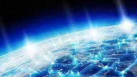 I collegamenti sistema e gli scambi di dati su pianeta Terra 3D rendono Immagini Stock