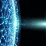 I collegamenti sistema e gli scambi di dati su pianeta Terra 3D rendono Fotografia Stock