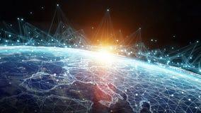 I collegamenti sistema e gli scambi di dati su pianeta Terra 3D rendono Fotografia Stock Libera da Diritti
