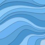 I colori blu nello scorrimento stratificato ondeggia il concetto nel modello a strisce astratto, progettazione blu del materiale  illustrazione vettoriale