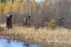 I colori di caduta sono riflessi in un fiume in Wisconsin Fotografia Stock Libera da Diritti