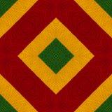 I colori di reggae lavorano all'uncinetto il fondo tricottato di stile, vista superiore Collage con la riflessione di specchio Mo Immagini Stock