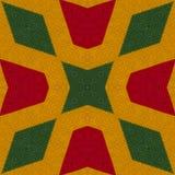 I colori di reggae lavorano all'uncinetto il fondo tricottato di stile, vista superiore Collage con la riflessione di specchio co Fotografia Stock