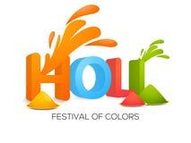 I colori placcano con testo 3D per la celebrazione di Holi Fotografie Stock