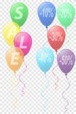 I colori trasparenti balloons con il ill di vettore di vendita dell'iscrizione Fotografie Stock