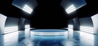 I colori vibranti blu al neon futuristici moderni di Sci Fi con la fase vuota Hall Glowing With Big White del cerchio accende lo  illustrazione di stock