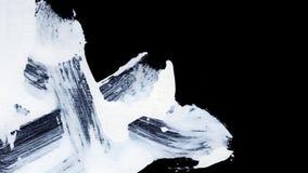 I colpi bianchi dinamici della spazzola sullo zen nero del fondo disegnano il fondo e la struttura Immagini Stock