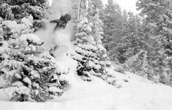 I colpi del pensionante della neve delle donne saltano #3 nell'azione Immagine Stock