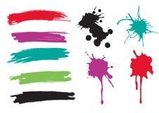 I colpi della spazzola e spruzza di pittura Immagini Stock Libere da Diritti