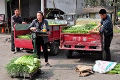 Pengzhou, Cina: Coltivatori che pesano aglio Immagini Stock Libere da Diritti