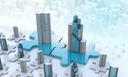 I concetti di affari di acquisizione e di fusione, puzzle dell'unire collega royalty illustrazione gratis