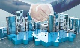 I concetti di affari di acquisizione e di fusione, puzzle dell'unire collega illustrazione di stock