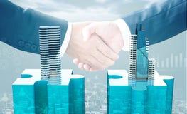 I concetti di affari di acquisizione e di fusione, puzzle dell'unire collega illustrazione vettoriale