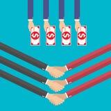 I concetti di affari nella progettazione piana per il web, il lavoro di squadra, commercio elettronico, stringono le mani, vettor Immagini Stock