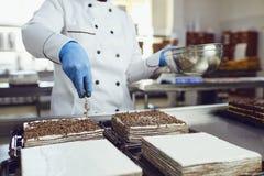 I confettieri decora un dolce di cioccolato in un forno immagini stock libere da diritti
