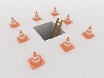 I coni di traffico intorno alla botola ed alla scala, 3D rendono Immagine Stock Libera da Diritti