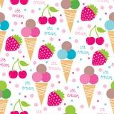 I coni gelati senza cuciture ed il modello senza cuciture di frutti vector l'illustrazione Fotografia Stock Libera da Diritti