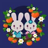 I conigli in Hanbok hanno incorniciato dai cachi e dai fiori royalty illustrazione gratis
