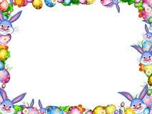 I coniglietti di pasqua con le uova variopinte ed i fiori confinano la struttura Immagini Stock