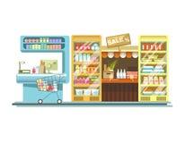 I contatori del negozio del prodotto del deposito del supermercato sta le esposizioni piane dello scaffale di vettore illustrazione di stock
