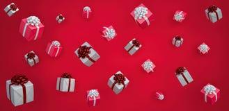 I contenitori di regalo bianchi e rossi su fondo rosso 3d rendono immagini stock libere da diritti