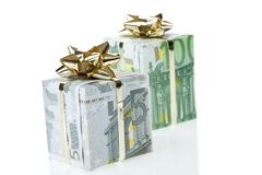 I contenitori di regalo dell'euro 5 & 100 Fotografie Stock