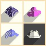 I copricapi per le donne hanno messo delle icone piane con ombra Illustrazione di vettore Illustrazione di Stock