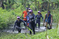 I corridori si divertono Muddy Tracks d'attraversamento Fotografia Stock