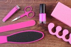 I cosmetici e gli accessori per il manicure o pedicure, concetto del piede, mano e unghia si preoccupano Fotografia Stock