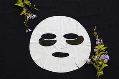 I cosmetici naturali rivestono l'estratto della maschera di occhi e della maschera di erbe immagini stock