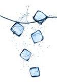 I cubetti di ghiaccio in acqua spruzza isolato su bianco Fotografia Stock
